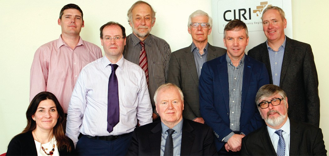CIRI Admissions and Registration Board: Standing, l to r: Michael McDonagh, Martin Vaughan, Brendan Duffy, Liam Egan, John O'Shaughnessy and Brian McKeon. Seated, l to r: Dr Ciara Ahern, Aidan O'Connor (Chairperson), and Kevin Sheridan.